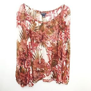 Lucky Brand Women's Sheer Blouse Floral Ties Sz L